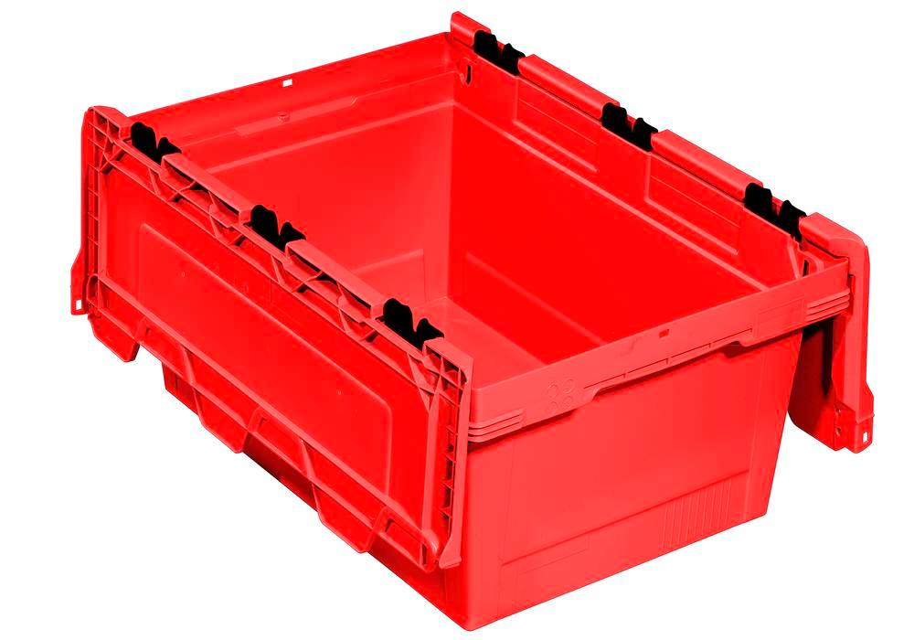 Bac gerbable multi-usage classic-line D, couvercle à bascule, 600 x 400 x 299 mm, rouge, UV = 3 pcs