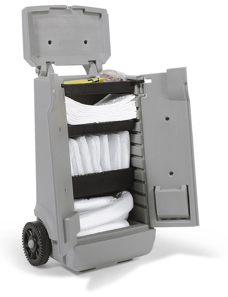 Kit d'absorbants anti-pollution DENSORB, absorbants en chariot gris A, « huile »